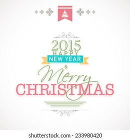 Happy New Year 2015 and Merry Christmas celebration poster, banner or flyer design on shiny grey background.