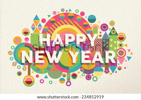 happy new year 2015 quote design illustration ideal for web greeting card and print