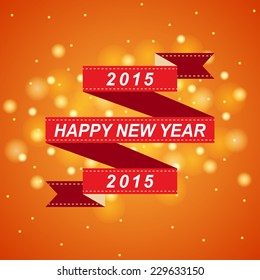 happy new year 2015 red ribbon with bokeh and lens flare pattern on summer orange background (vector)
