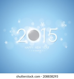 happy new year 2015 with snowflake and bokeh pattern on winter blue background (vector)