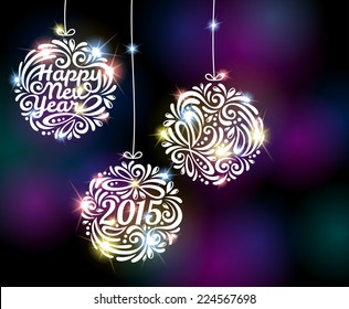 Happy New Year 2015 sparkling colorful ornament design. Vector illustration. Black disco background with flare lights. Invitation or greeting card design.