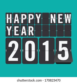 Happy New Year 2015 vector mechanical flip clock design in the process of the flip