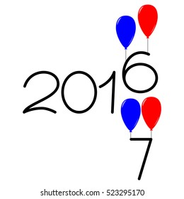 Happy new year 2016 and 2017 text design on the white background