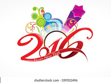 happy new year 2016 background with explode floral vector illustration