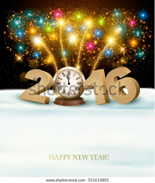 Happy New Year 2016 background with fireworks. Vector.