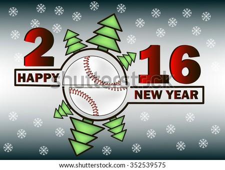 happy new year 2016 and baseball with christmas trees - Baseball Christmas