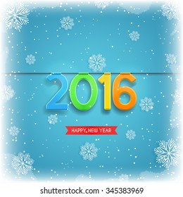 Happy New Year, 2016. Beautiful vector ice background with snowflakes. Vector illustration.