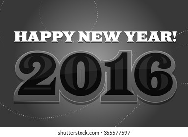 Happy New Year 2016 Black and White