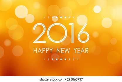 happy new year 2016 in bokeh and lens flare pattern on summer orange background (vector)