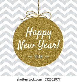 Happy New Year 2016 card with gold detail