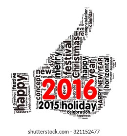 """""""Happy New Year 2016"""". Cloud of words"""