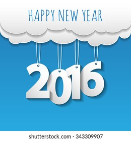 Happy new year 2016 cloud and sky background .Vector/illustration.