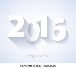 Happy New Year 2016 colorful symbol. Calendar design typography vector illustration. Paper white design with shadows.