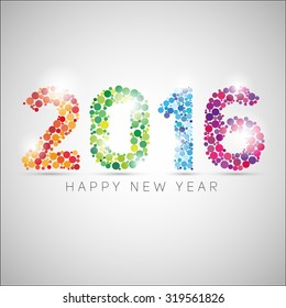 Happy new year 2016. Colorful dots design. Vector simple style illustration