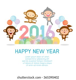Happy new year 2016, Colorful Happy New Year 2016 Monkey background, happy Monkey jumping with Happy new year 2016, Vector Illustration