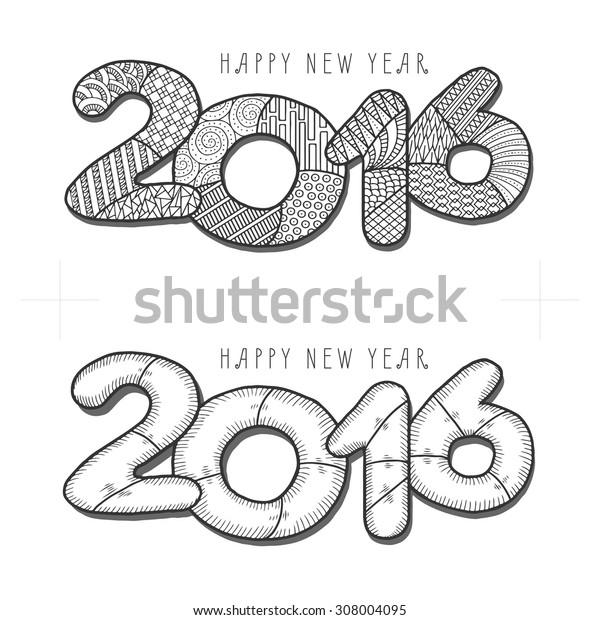 Happy new year 2016. Decorative vintage vector illustration. Hand drawn monochrome greeting card.
