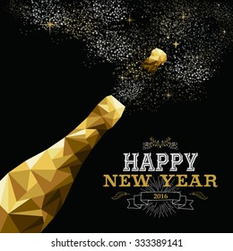 Happy new year 2016 fancy gold champagne bottle in hipster triangle low poly style. Ideal for greeting card or elegant holiday party invitation. EPS10 vector.