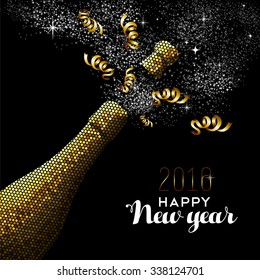Happy new year 2016 fancy gold champagne bottle celebration in mosaic style. Ideal for holiday card or elegant party invitation. EPS10 vector.