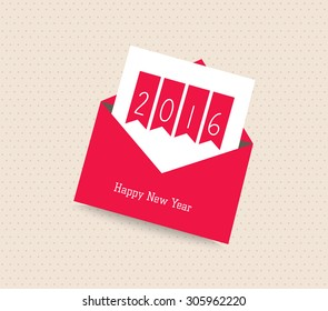 happy new year 2016. Greeting card with envelope