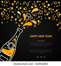 Happy New Year 2016 greeting card or poster design with minimalistic line flat champagne explosion bottle and place for your text message. Vector illustration. Stars and particles foam splash.
