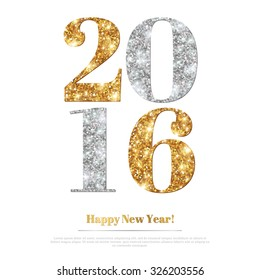 Happy New Year 2016 Greeting Card with Gold and Silver Numbers. Vector Illustration. Merry Christmas Flyer Design