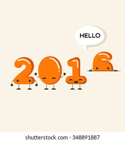 Happy New Year 2016 greeting card,Funny cartoon number -Vector Illustration