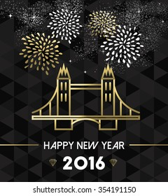 Happy New Year 2016 London greeting card with England landmark tower bridge in gold outline style. EPS10 vector.