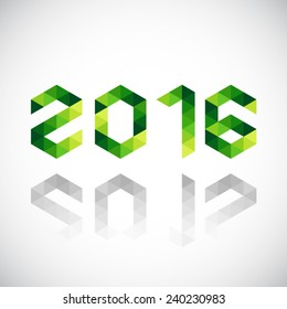 Happy New Year 2016 made in polygonal origami style - 2015 change to 2016