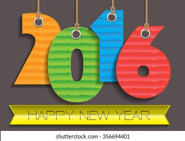 Happy New Year 2016 Paper number colors vector illustration.