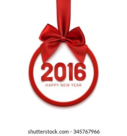 Happy New Year 2016 round banner with red ribbon and bow, isolated on white background. Christmas tree decoration. Greeting card template. Vector illustration.