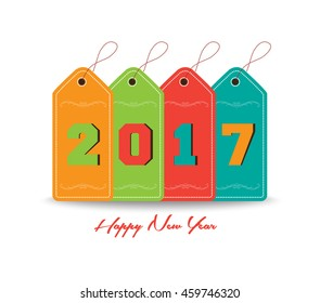 Happy new year 2016 with tag colorful