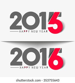 Happy New Year 2016 Text Decorated Design
