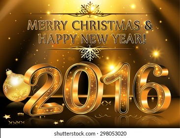 Happy New Year 2016 - vector Background. Elegant black vector background illustration with glowing, sparkling stars and Christmas Balls, for the Year 2016. Contains transparency.