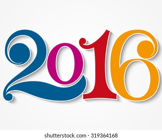 Happy new year 2016. Year 2016 vector design element.