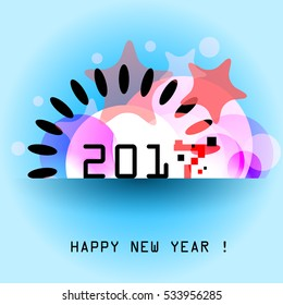 Happy New Year 2017 abstract retro design for greeting cards, flyers, brochures and calendars, EPS10 Vector Illustration.
