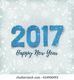 Happy New Year 2017 background with blue paper typeface on winter background with snow and snowflakes.  Greeting card template. Vector illustration.