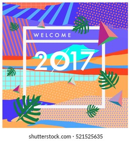 Happy New Year 2017 background. Calendar cover template. Colorful & Modern memphis style background. Summer greeting card vector illustration.