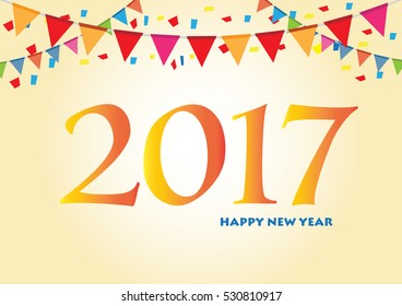 Happy New Year 2017 background. Greeting card Colorful, hand drawn paper typeface on celebration background. Vector illustration and Calendar template.