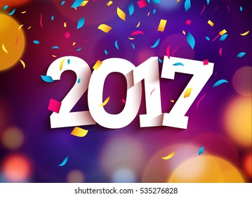 happy new year 2017 background decoration greeting card design template 2018 confetti vector illustration