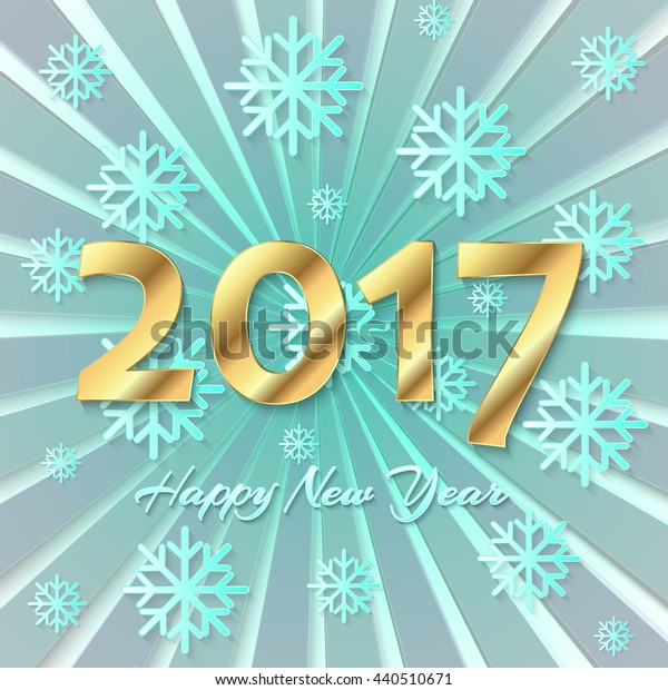 Happy New Year 2017 background. Calendar template. Colorful, hand drawn paper typeface on celebration background. Greeting card template. Vector illustration.