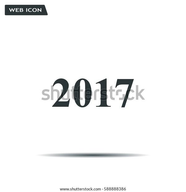 Happy new year 2017 - black vector icon