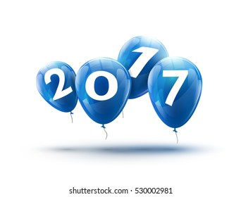 Happy New Year 2017 blue balloons design. Greeting card with blue balloons celebration decoration.