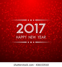 happy new year 2017 with bokeh and lens flare pattern red background (vector)