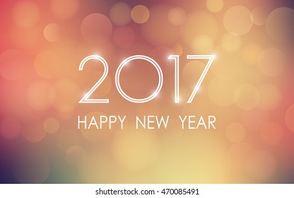 happy new year 2017 with bokeh and lens flare pattern in vintage color style background (vector)