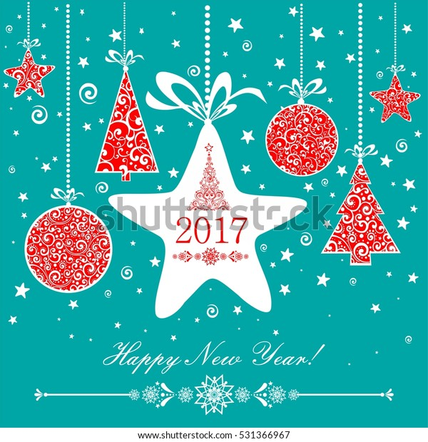 Happy new year 2017!  Celebration  background with Christmas star, Christmas ball, Christmas tree and place for your text. Vector Illustration