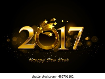 Happy New Year 2017 celebrations greeting card design with golden ring and star background.