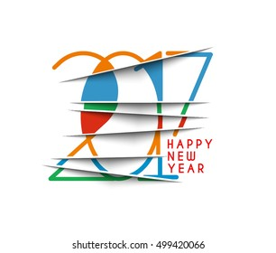 Happy new year 2017  Colorful Text Design Vector Background.