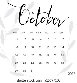 Happy new year 2017 creative greeting card design / Year 2017 vector design element / typescript 2017 blue greeting card made in style. Calendar for 2017. calendar illustration. october