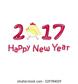 Happy new year 2017 creative greeting card with chickens. Vector illustration.