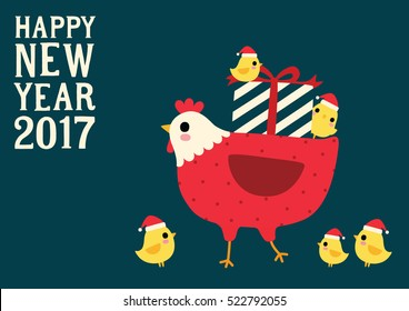 Happy New Year 2017. Cute chicken and hen. Vector Illustration.